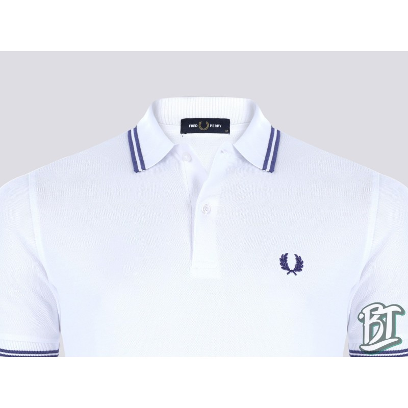 Fred Perry Original Twin Tipped Polo Shirt - M3600 746 - White/Purple