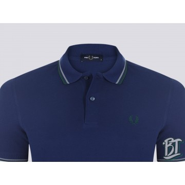 Fred Perry Original Twin Tipped Polo Shirt - M3600 J34 - Medieval Blue/Midnight Blue/Ivy