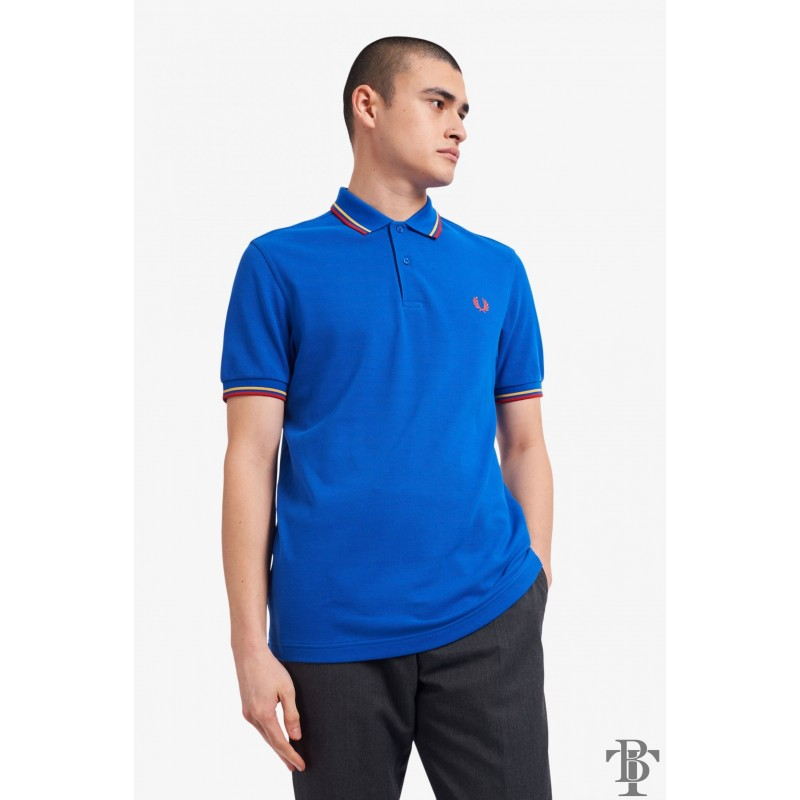Fred Perry Original Twin Tipped Polo Shirt - M3600-201 - Marina Blue / Dijon Yellow / Summer Red