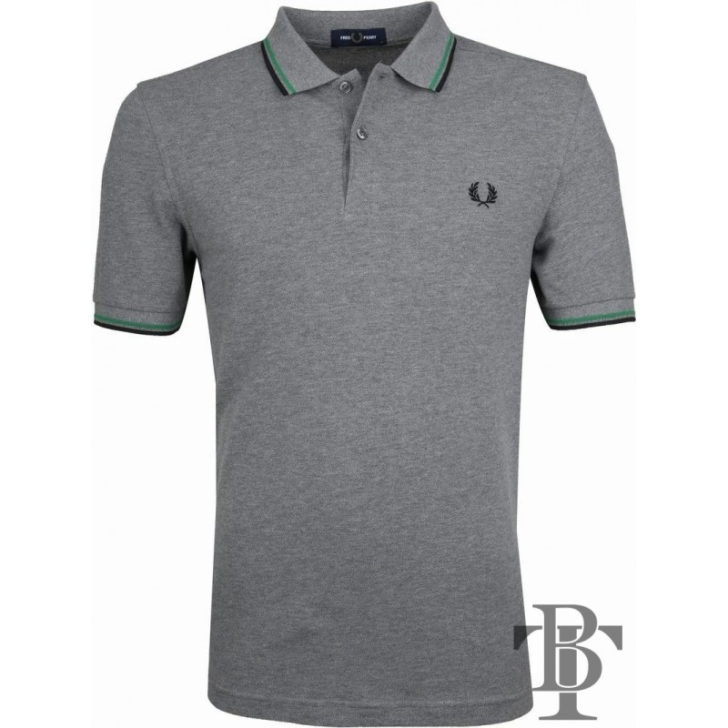 Fred Perry Original Twin Tipped Polo Shirt - M3600 J83 Steel Marl Green Black