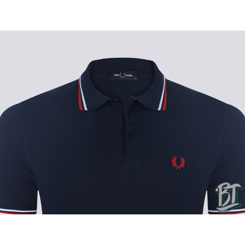 Fred Perry Original Twin Tipped Polo Shirt - M3600 471 - Navy/White/Red